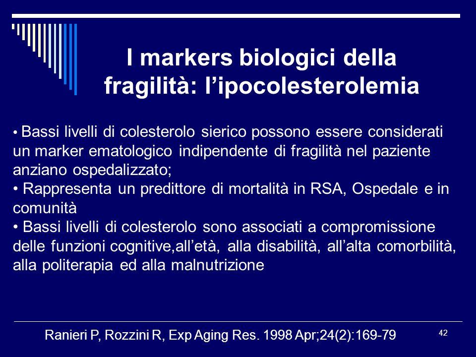 I markers biologici della fragilità: l'ipocolesterolemia