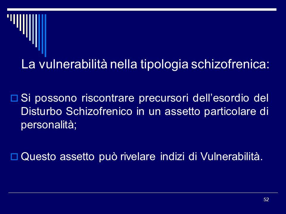 La vulnerabilità nella tipologia schizofrenica: