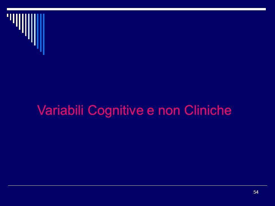 Variabili Cognitive e non Cliniche