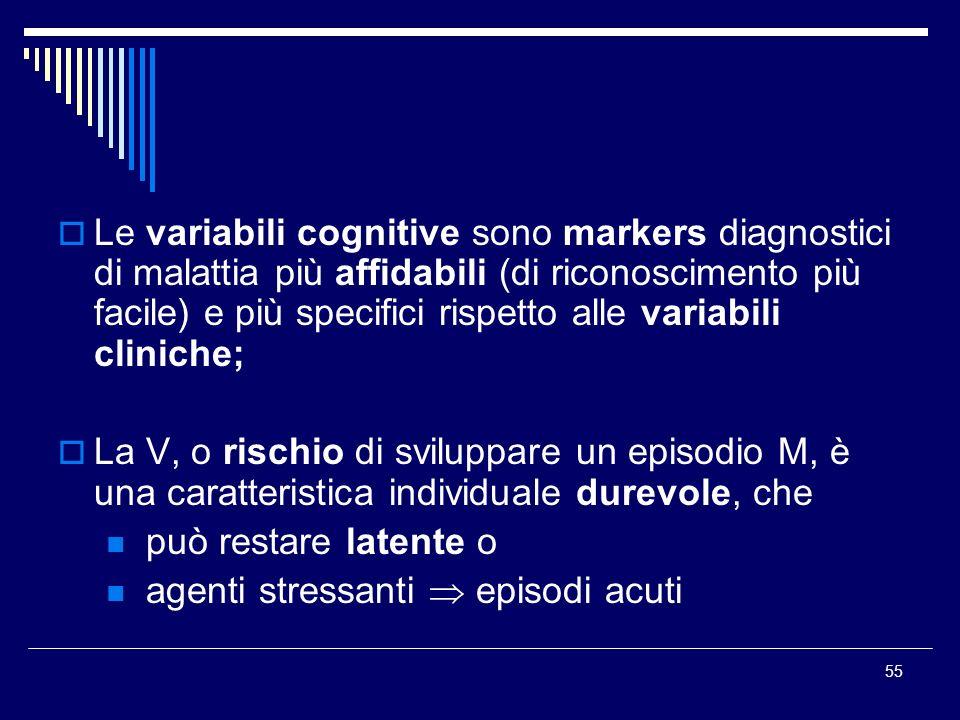 Le variabili cognitive sono markers diagnostici di malattia più affidabili (di riconoscimento più facile) e più specifici rispetto alle variabili cliniche;