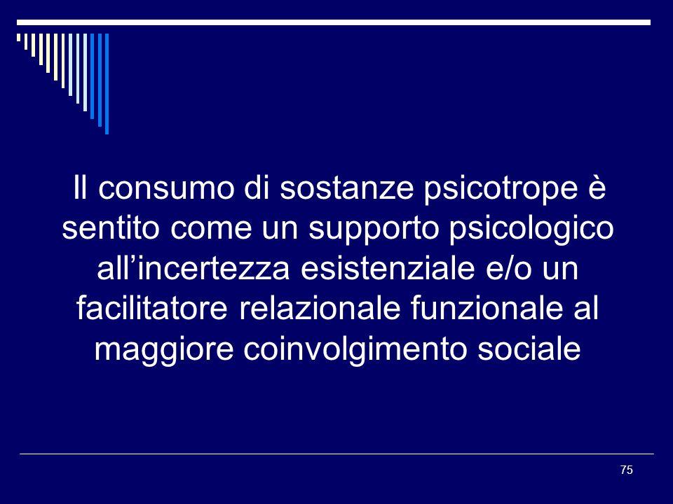 Il consumo di sostanze psicotrope è sentito come un supporto psicologico all'incertezza esistenziale e/o un facilitatore relazionale funzionale al maggiore coinvolgimento sociale