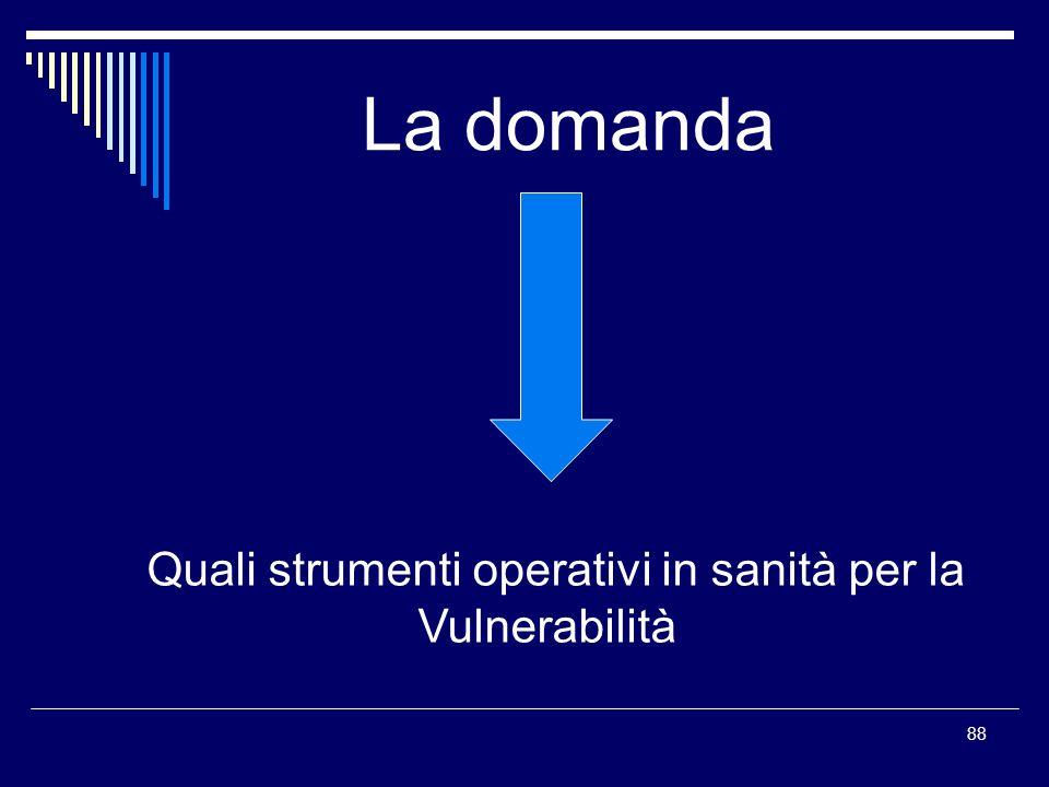 La domanda Quali strumenti operativi in sanità per la Vulnerabilità