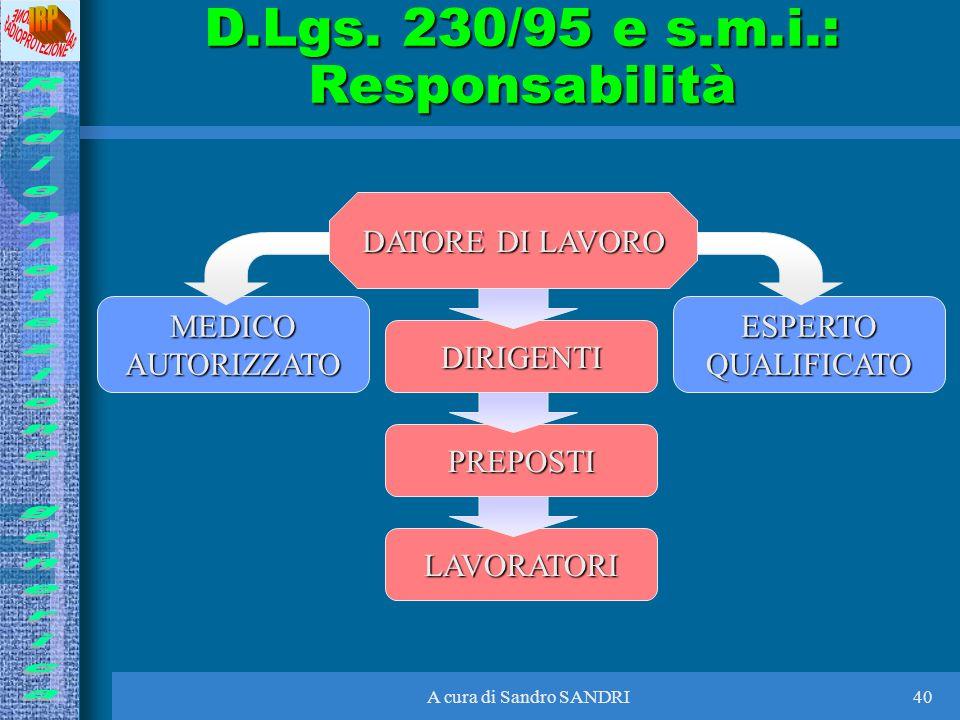 D.Lgs. 230/95 e s.m.i.: Responsabilità