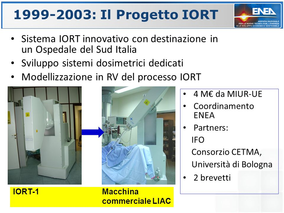 1999-2003: Il Progetto IORT Sistema IORT innovativo con destinazione in un Ospedale del Sud Italia.