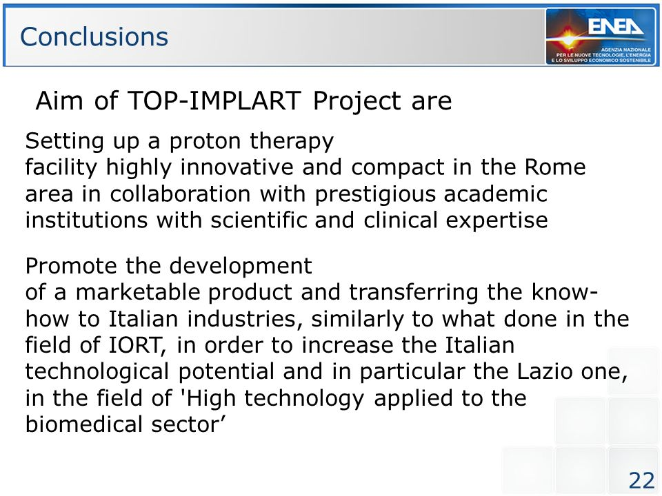 Aim of TOP-IMPLART Project are