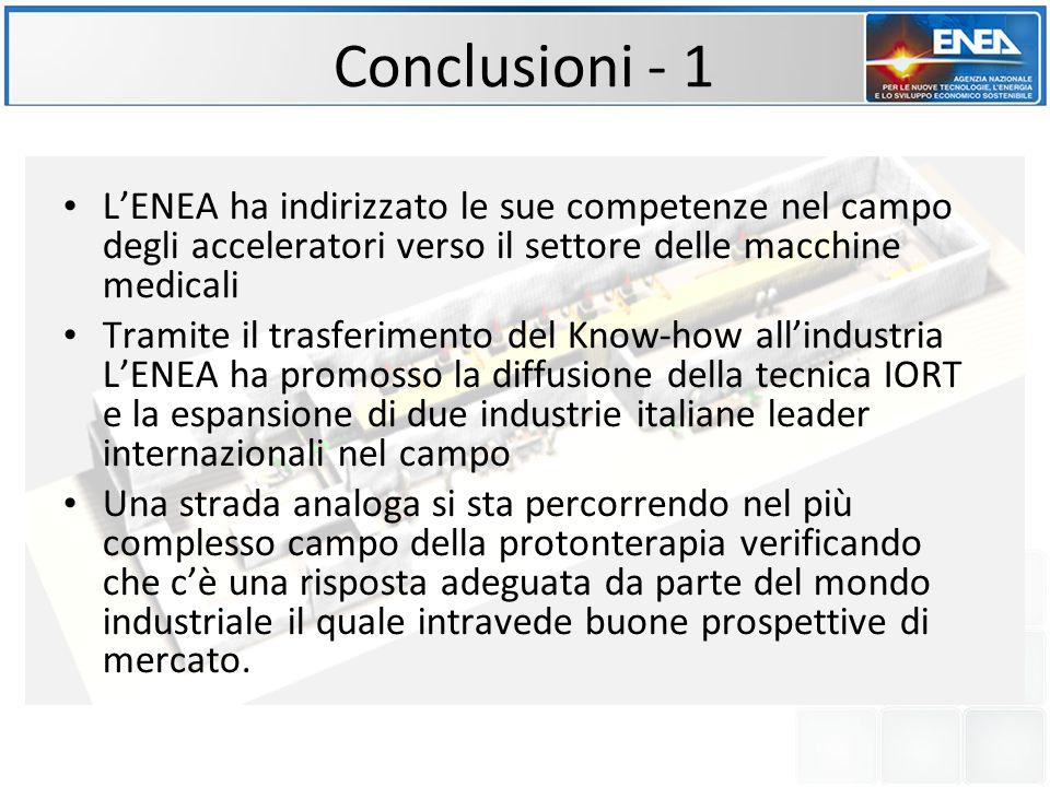 Conclusioni - 1 L'ENEA ha indirizzato le sue competenze nel campo degli acceleratori verso il settore delle macchine medicali.