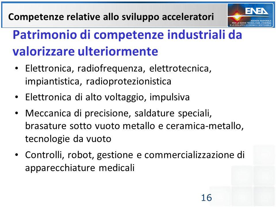 Patrimonio di competenze industriali da valorizzare ulteriormente