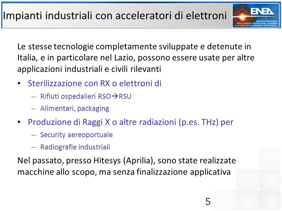 Impianti industriali con acceleratori di elettroni