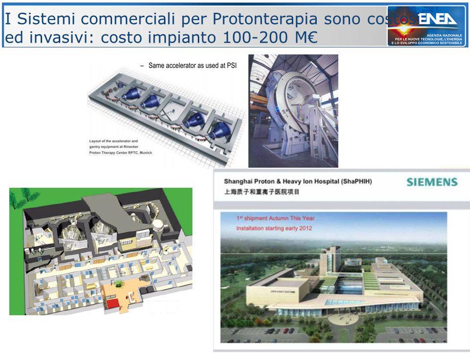 I Sistemi commerciali per Protonterapia sono costosi ed invasivi: costo impianto 100-200 M€