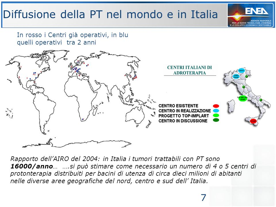 Diffusione della PT nel mondo e in Italia
