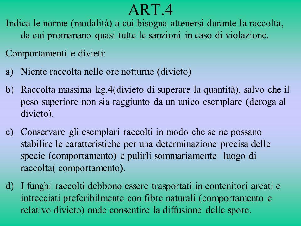 ART.4 Indica le norme (modalità) a cui bisogna attenersi durante la raccolta, da cui promanano quasi tutte le sanzioni in caso di violazione.