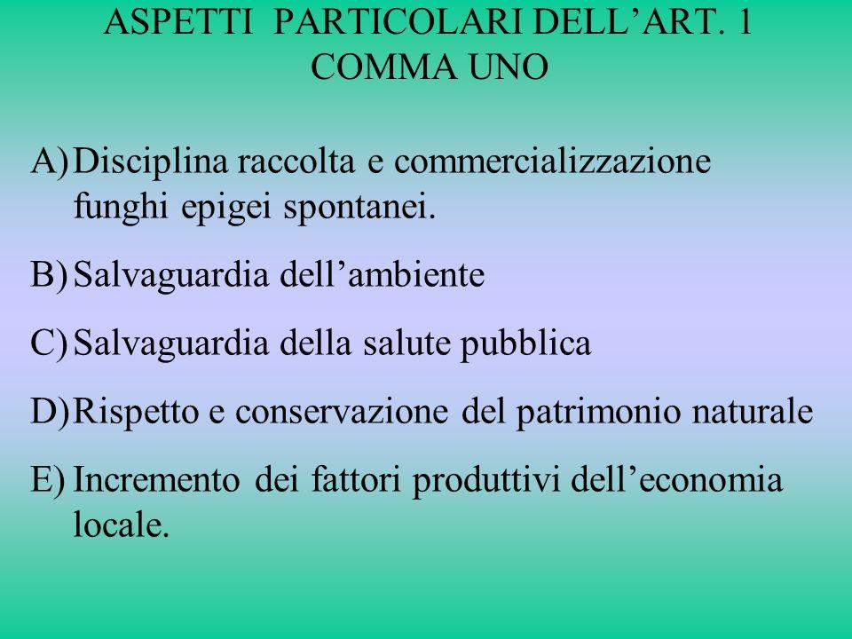 ASPETTI PARTICOLARI DELL'ART. 1 COMMA UNO