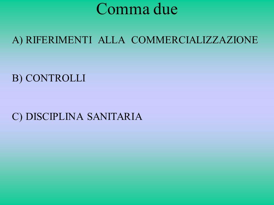 Comma due RIFERIMENTI ALLA COMMERCIALIZZAZIONE CONTROLLI