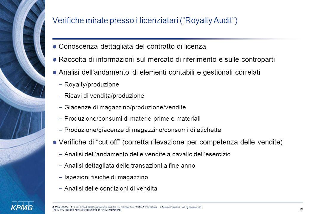 Verifiche mirate presso i licenziatari ( Royalty Audit )