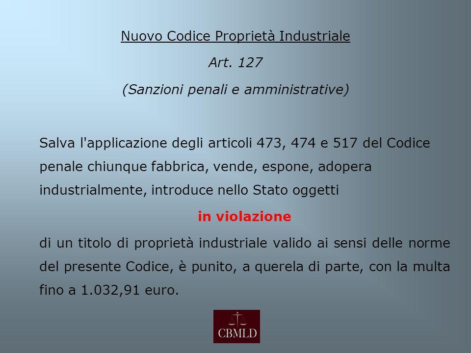 Nuovo Codice Proprietà Industriale Art. 127