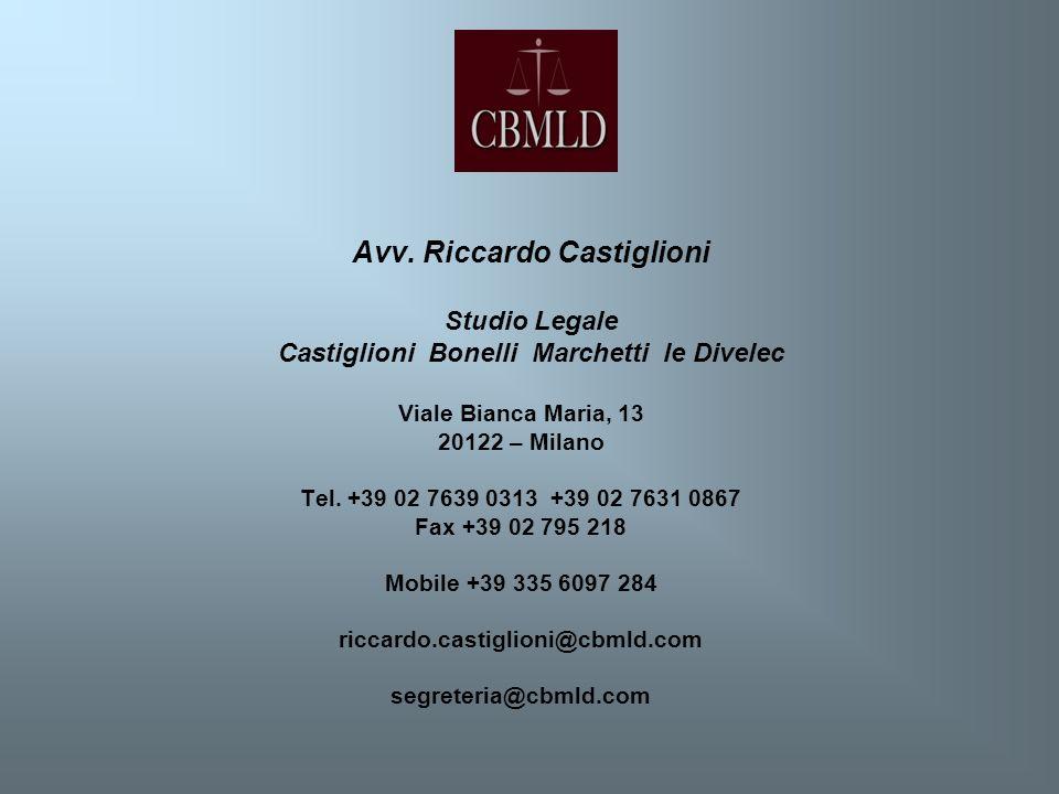 Avv. Riccardo Castiglioni Studio Legale Castiglioni Bonelli Marchetti le Divelec