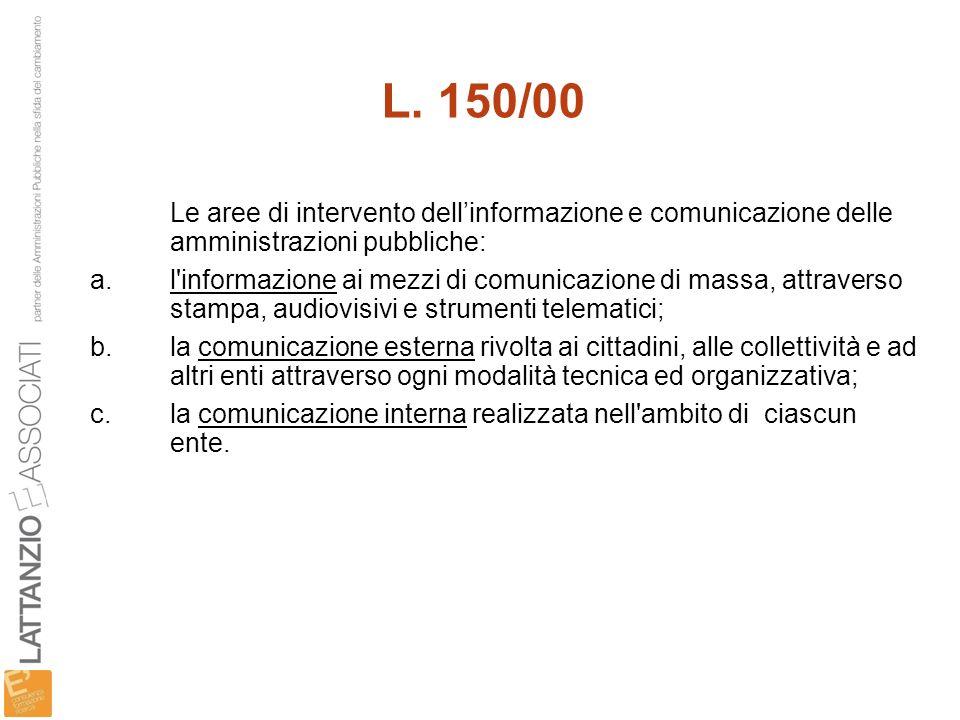 L. 150/00 Le aree di intervento dell'informazione e comunicazione delle amministrazioni pubbliche: