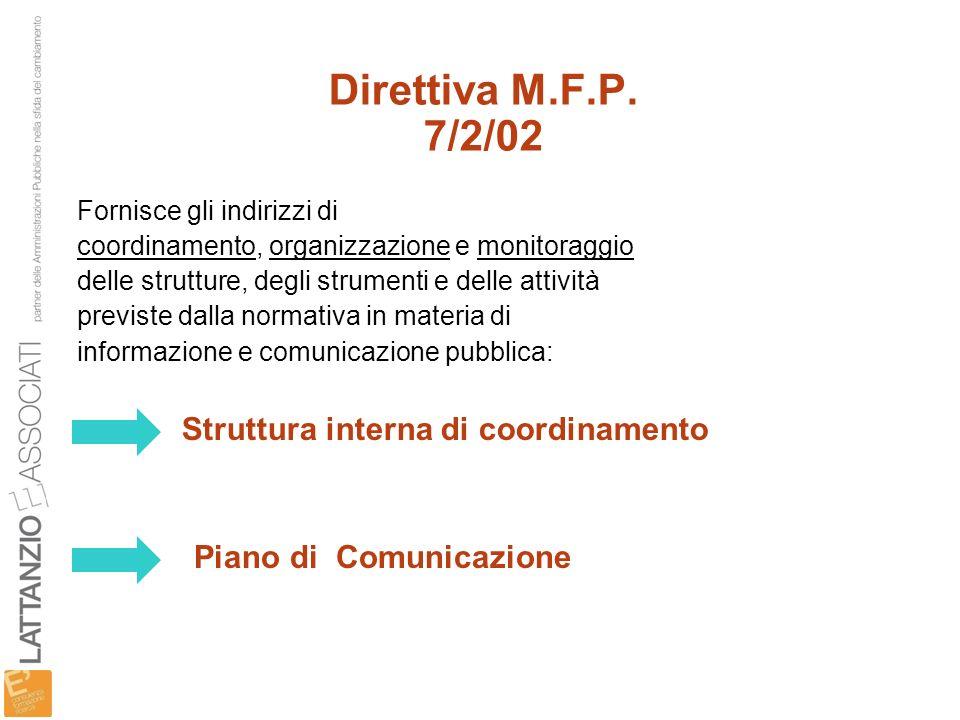 Direttiva M.F.P. 7/2/02 Struttura interna di coordinamento