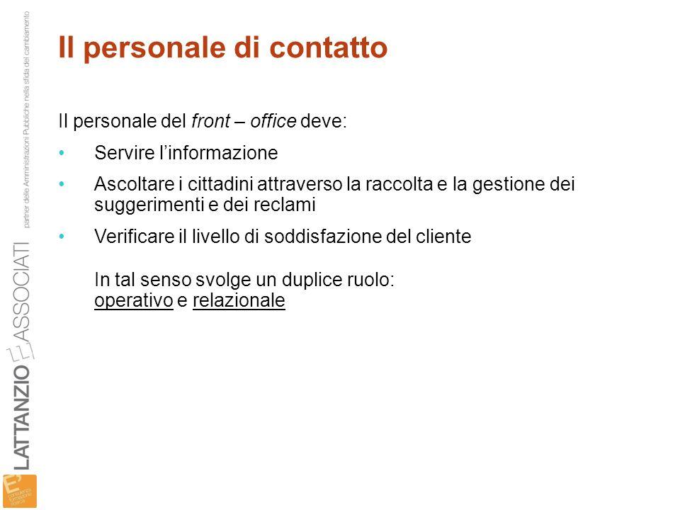 Il personale di contatto