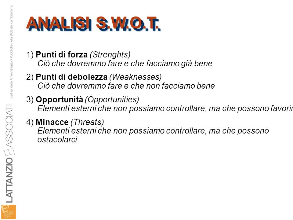 ANALISI S.W.O.T. 1) Punti di forza (Strenghts)