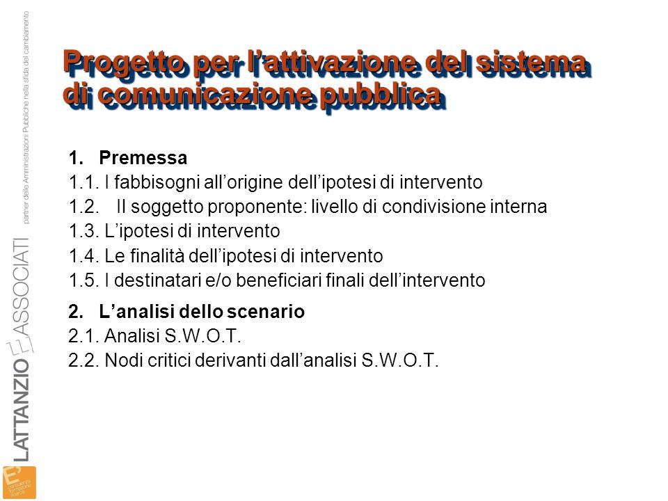 Progetto per l'attivazione del sistema di comunicazione pubblica