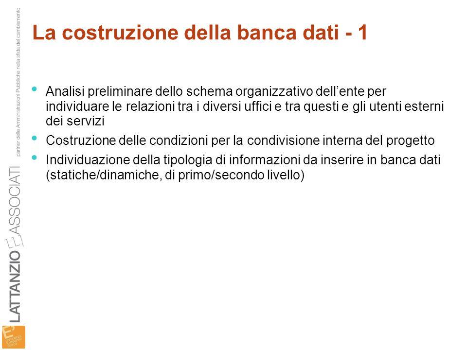 La costruzione della banca dati - 1