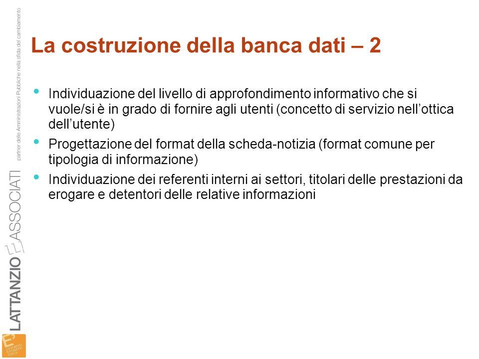 La costruzione della banca dati – 2
