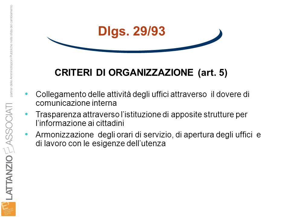 Dlgs. 29/93 CRITERI DI ORGANIZZAZIONE (art. 5)