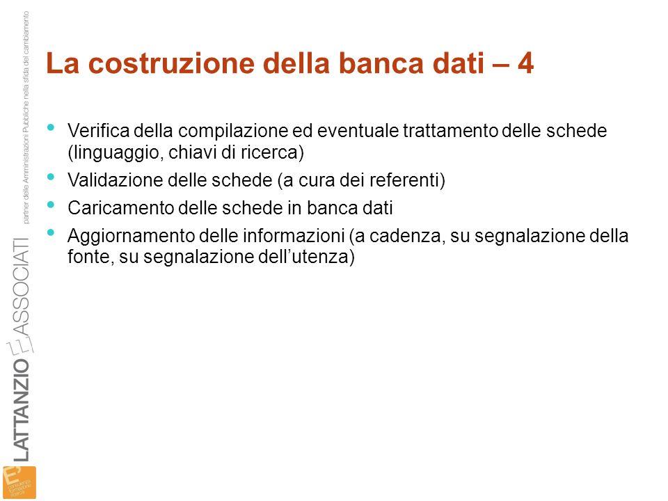 La costruzione della banca dati – 4