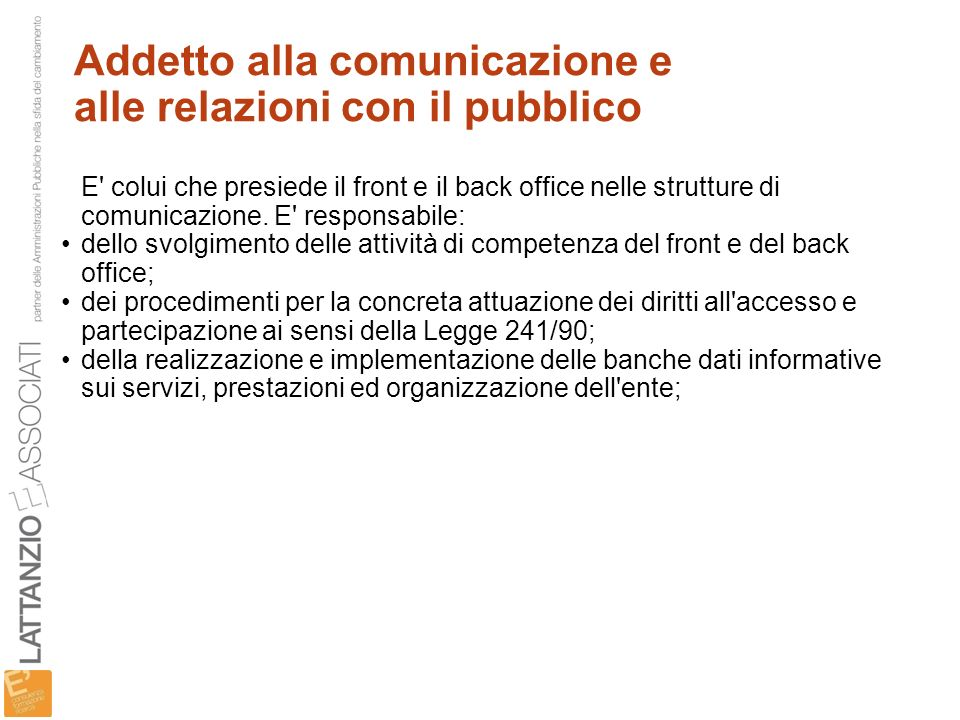Addetto alla comunicazione e alle relazioni con il pubblico