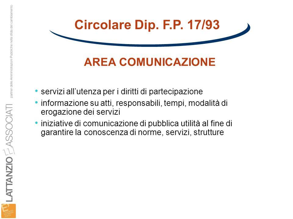 Circolare Dip. F.P. 17/93 AREA COMUNICAZIONE