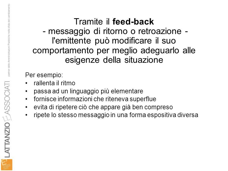 Tramite il feed-back - messaggio di ritorno o retroazione - l emittente può modificare il suo comportamento per meglio adeguarlo alle esigenze della situazione