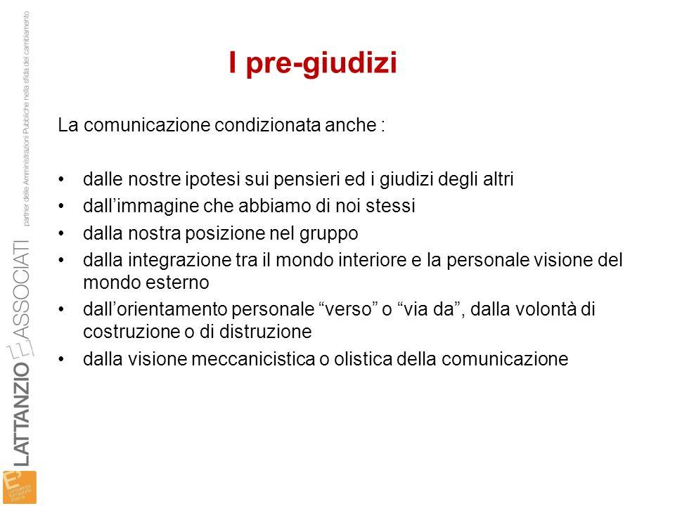 I pre-giudizi La comunicazione condizionata anche :