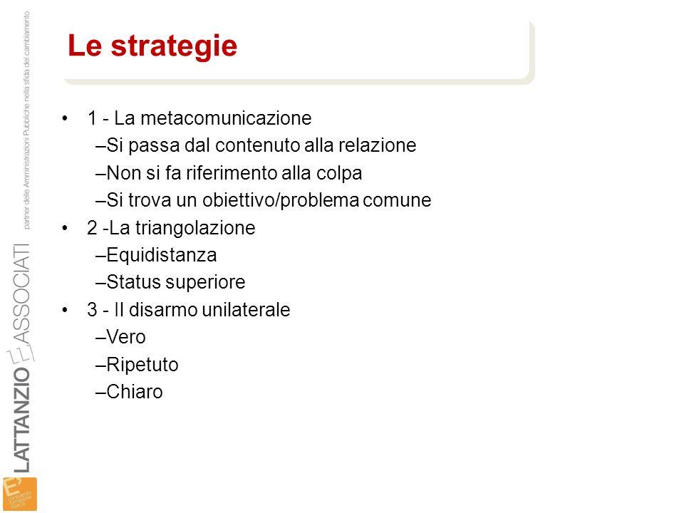 Le strategie 1 - La metacomunicazione
