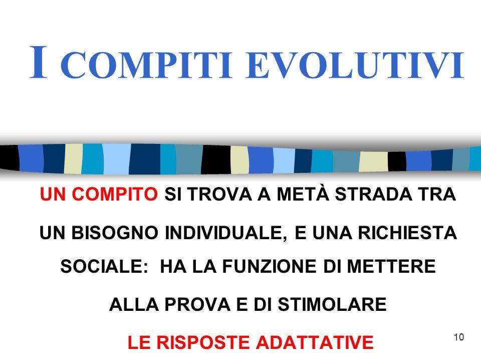 I compiti evolutivi Un compito si trova a metà strada tra