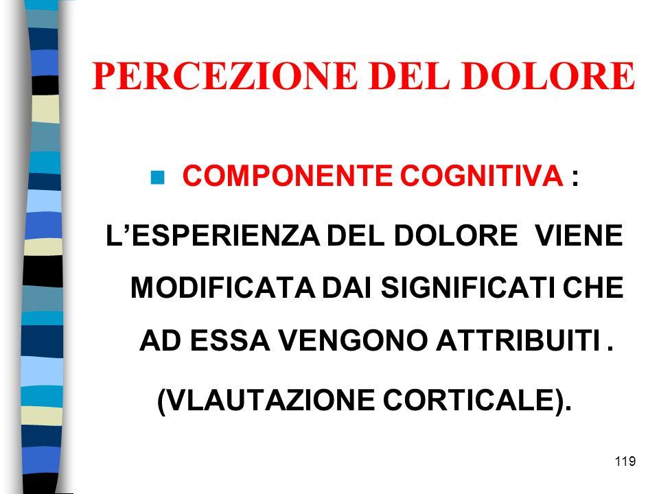 COMPONENTE COGNITIVA : (VLAUTAZIONE CORTICALE).