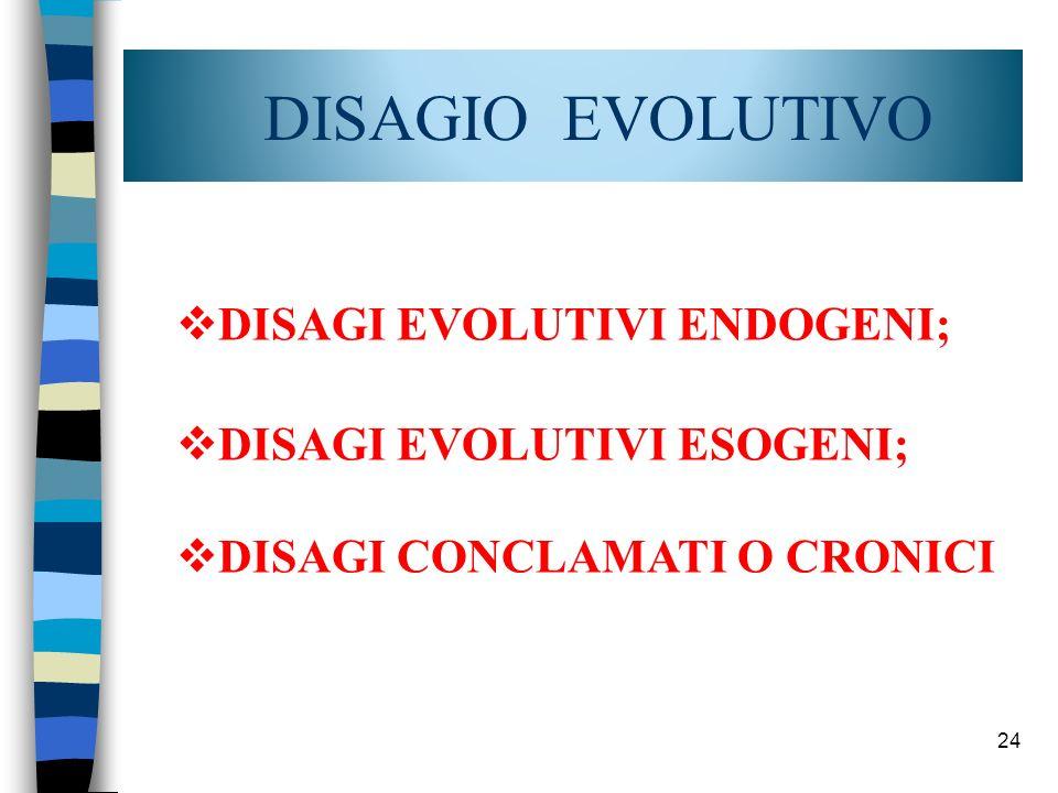 DISAGIO EVOLUTIVO DISAGI EVOLUTIVI ENDOGENI; DISAGI EVOLUTIVI ESOGENI;