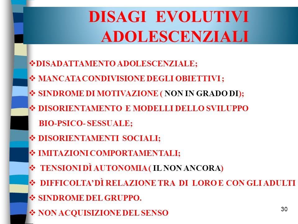 DISAGI EVOLUTIVI ADOLESCENZIALI DISADATTAMENTO ADOLESCENZIALE;