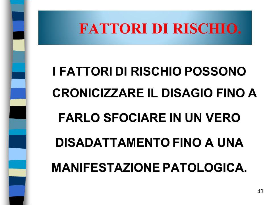 FATTORI DI RISCHIO. I FATTORI DI RISCHIO POSSONO CRONICIZZARE IL DISAGIO FINO A. FARLO SFOCIARE IN UN VERO.