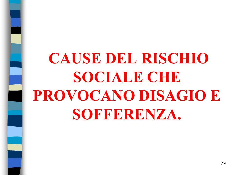 CAUSE DEL RISCHIO SOCIALE CHE PROVOCANO DISAGIO E SOFFERENZA.