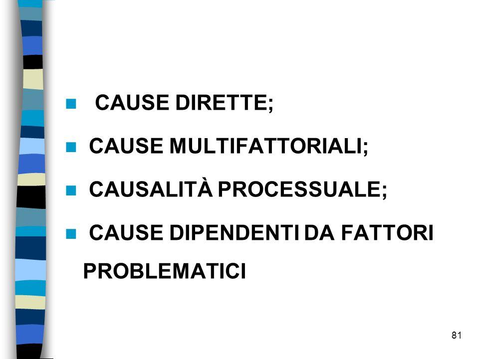 cause dirette; cause multifattoriali; causalità processuale; CAUSE DIPENDENTI DA FATTORI PROBLEMATICI.