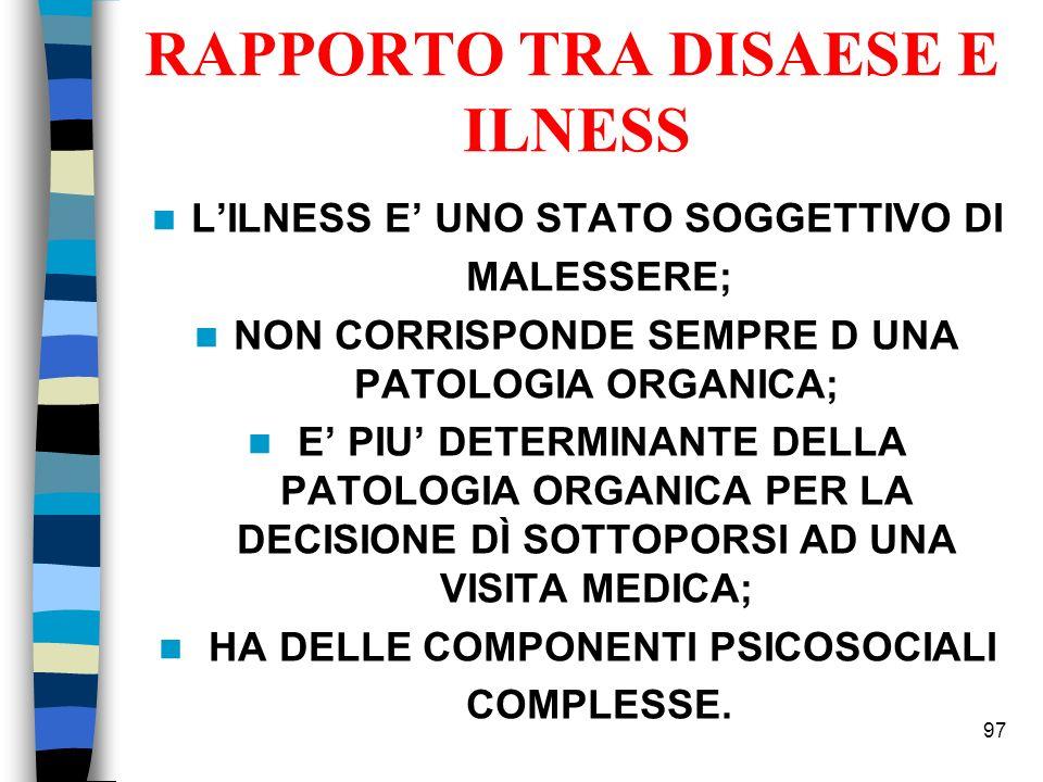 RAPPORTO TRA DISAESE E ILNESS