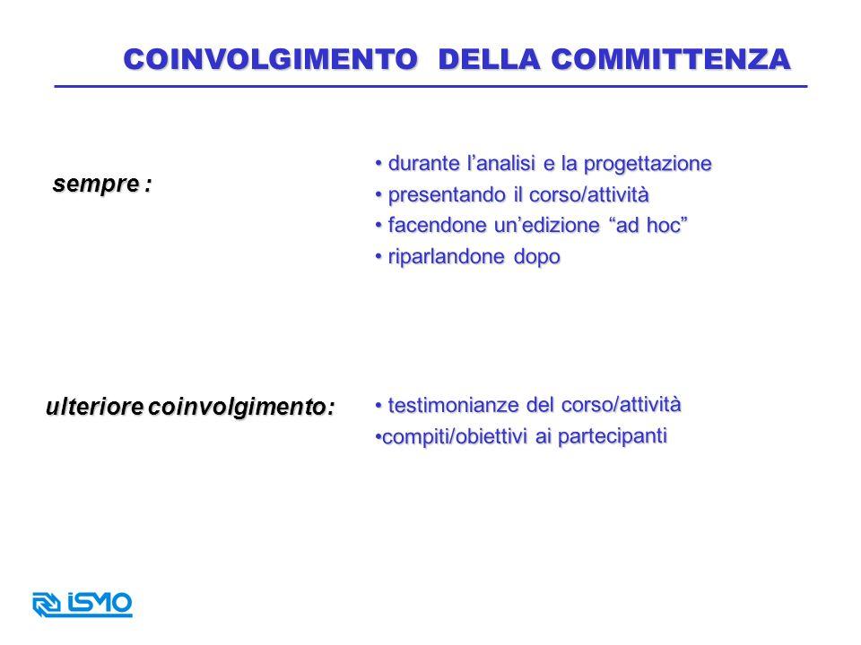 COINVOLGIMENTO DELLA COMMITTENZA
