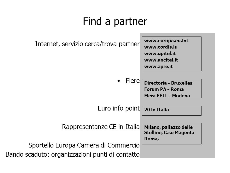 Find a partner Internet, servizio cerca/trova partner Fiere