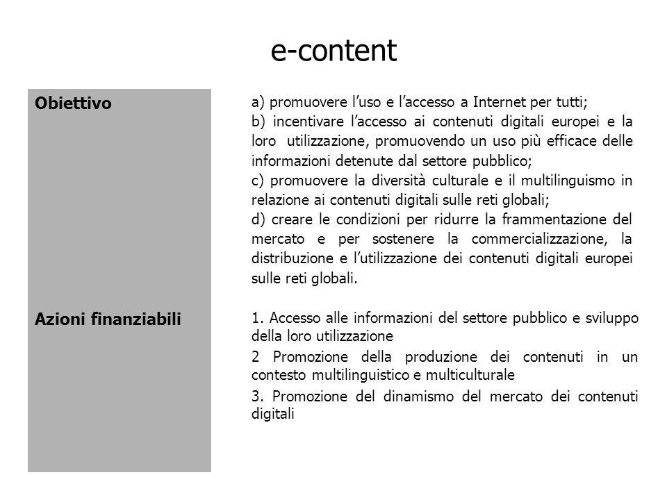 e-content Obiettivo Azioni finanziabili