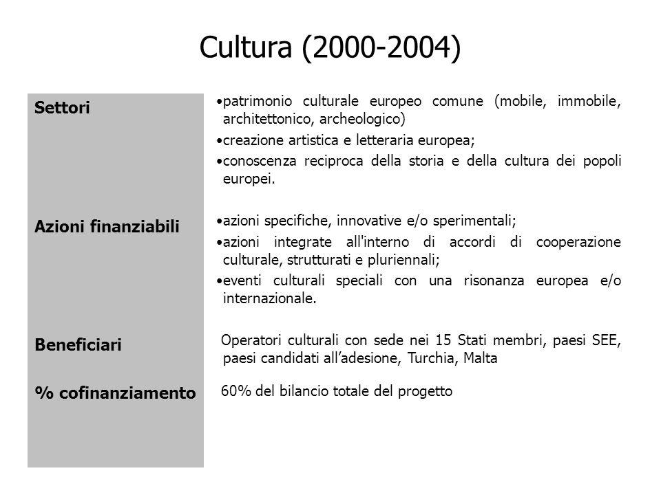 Cultura (2000-2004) Settori Azioni finanziabili Beneficiari