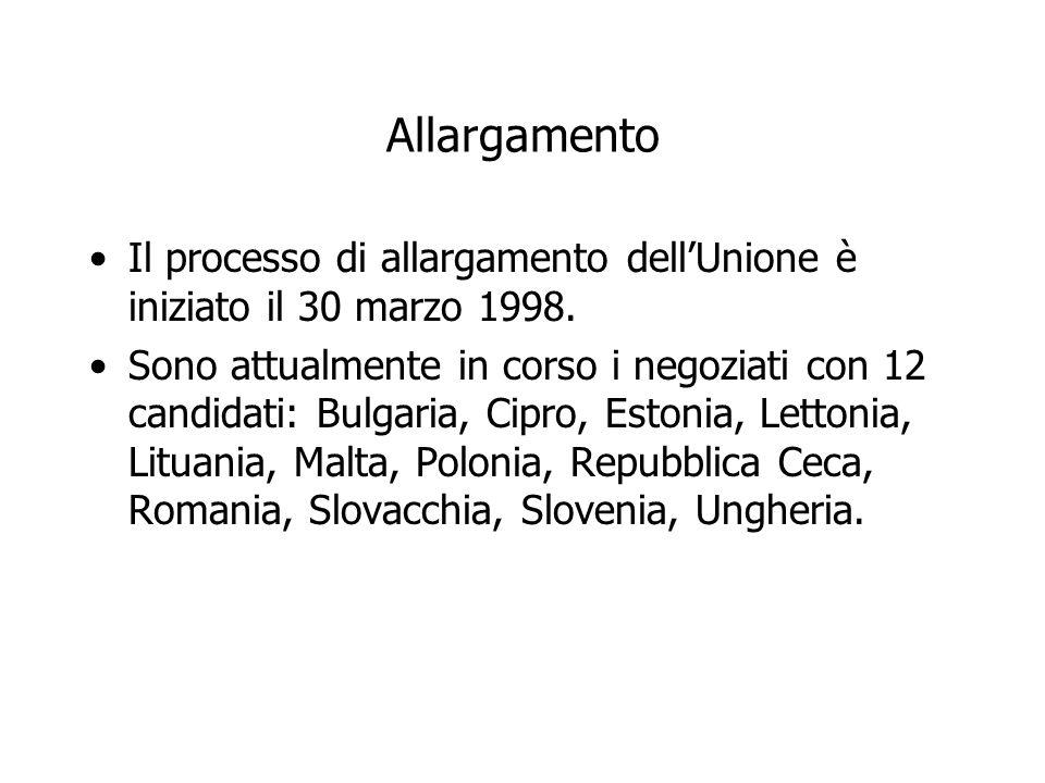 Allargamento Il processo di allargamento dell'Unione è iniziato il 30 marzo 1998.