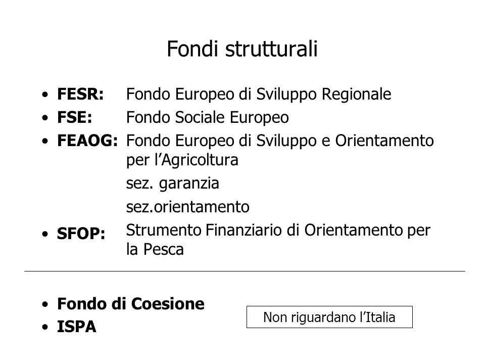 Non riguardano l'Italia