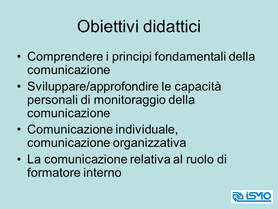 Obiettivi didattici Comprendere i principi fondamentali della comunicazione.
