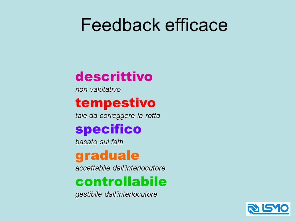 Feedback efficace descrittivo tempestivo specifico graduale